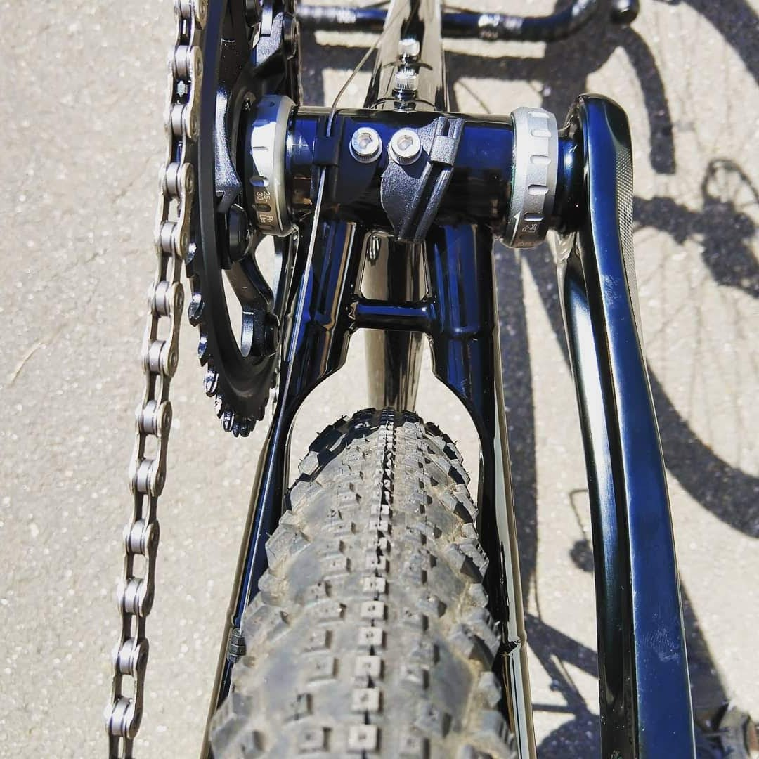 Pioneer Valley Frameworks chain stay yoke big tires custom bicycle handmade CNCed yoke special feature Firefly Bikes Rocky Mountain Bikes Specialized Bikes all road gravel adventure bikePicture